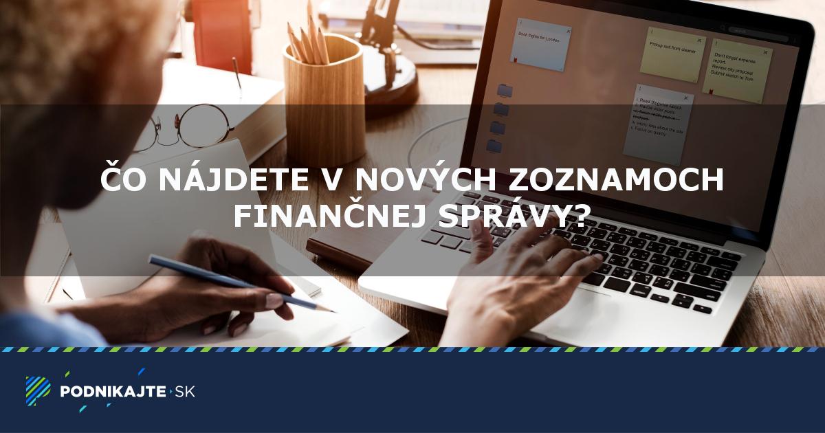 318f54401 Čo obsahujú nové zoznamy na finančnej správe? | Podnikajte.sk
